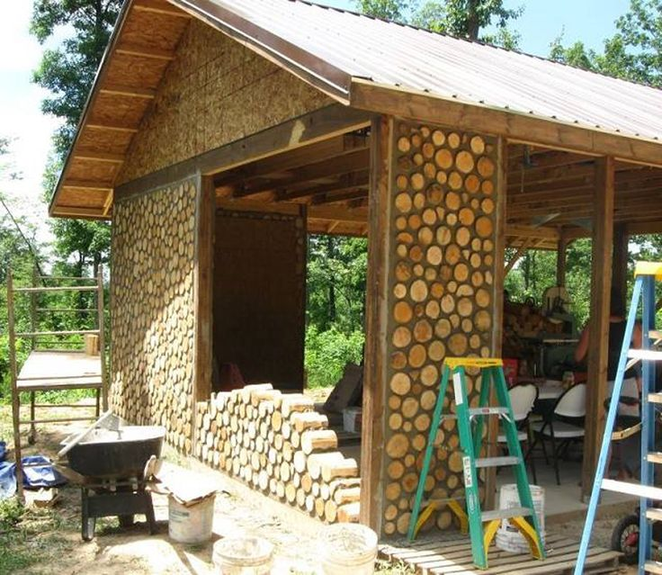 Cordwood construction (also called 'cordwood masonry,' 'stackwall construction', 'stovewood construction' or 'stackwood construction') is a term used for a natural building method in which 'cordwood' or short pieces of debarked tree are laid up crosswise with masonry or cob mixtures to build a wall.Walls are usually constructed such that the pieces of wood are 'proud' of (protrude from) the mortar by a small amount (an inch or less). Walls typically range between 12 and 24inches thick…