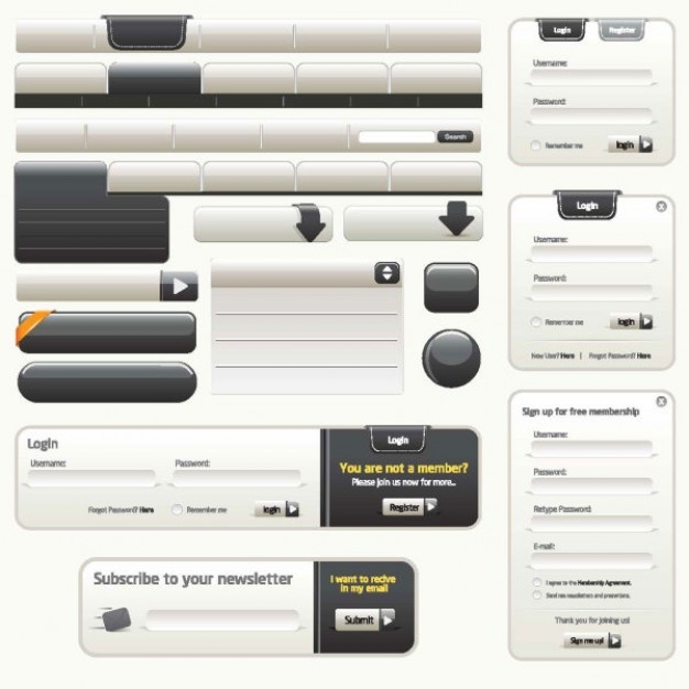 refined web design elements    vector  For learning and reference only.