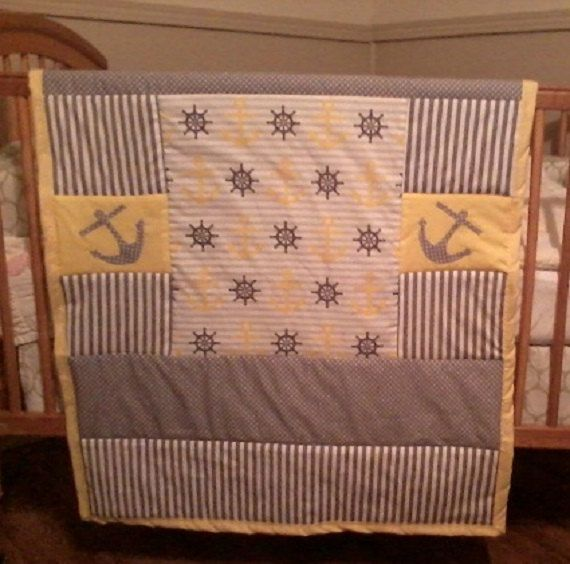 Anchor baby quilt Nautical baby bedding by NanasHandmadeLinens