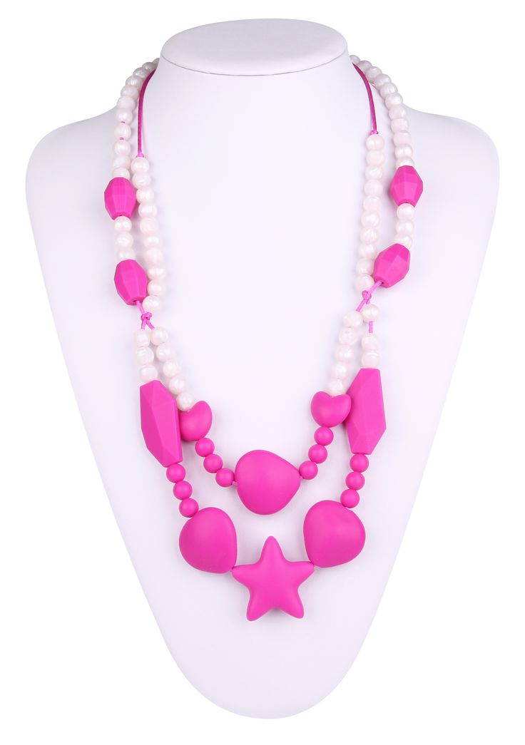 Which help baby grow up more healthily,Star Teething Necklace can attract  baby's attention,avoid biting the other things,catching hair.silicone teething necklace wholesale