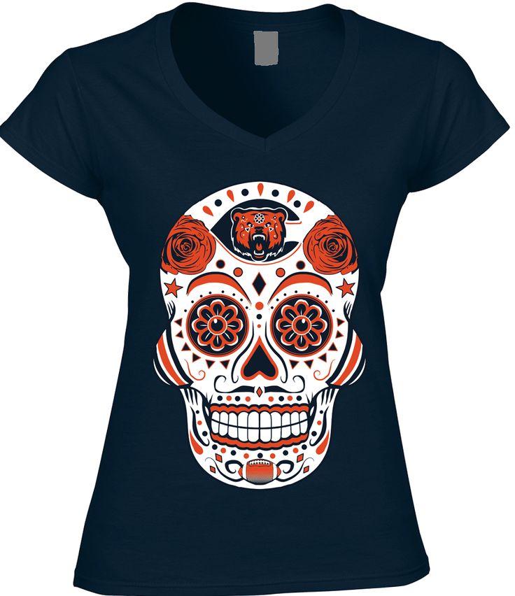 Chicago Football Sugar Skull - Womens VNeck