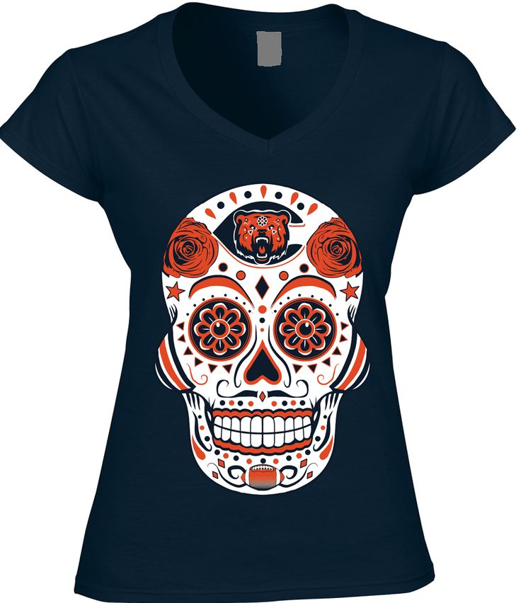 Chicago Football Sugar Skull - Womens VNeck