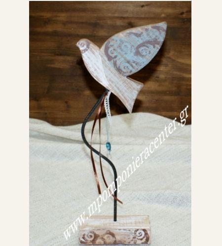 Επιτραπέζιο Πουλάκι σε βάση  στολισμένο με λευκή  δαντέλα  κορδέλa και χάντρες .