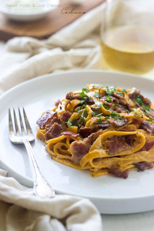 Sweet Potato and Goat Cheese Carbonara - Only 5 ingredients, SO creamy, healthy AND #glutenfree! | Foodfaithfitness.com | #pasta #recipe