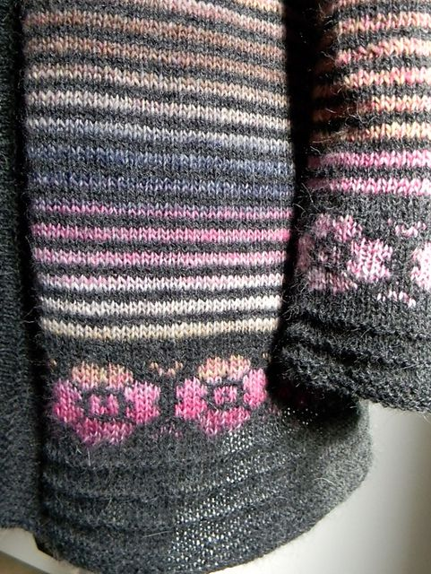 Add fair isle pattern into border of striped garment. What a neat idea!