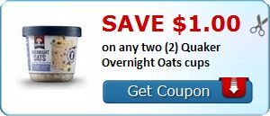 Rare: $1 off any Two Quaker Overnight Oat Cups ($1 each at Kroger through 08/09!) Plus $1/1 Simply Quaker Cereal