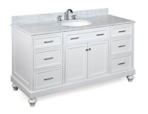 Amelia 60inch Single Sink Bathroom Vanity Carrara/White: Includes a