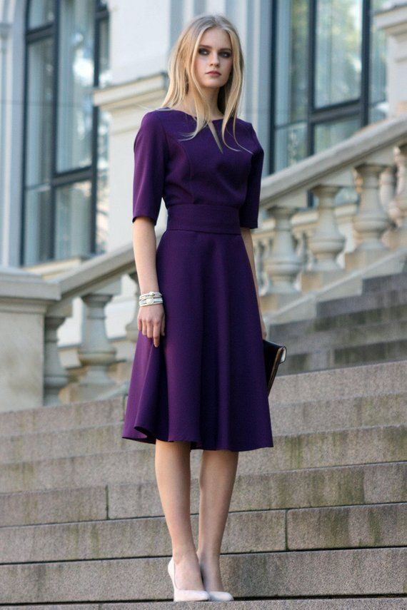 Purple Knee Length Sundresses