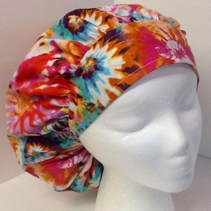 Tie Dye Adjustable Large Medical Bouffant OR Scrub Cap Surgery Hat #Handmade