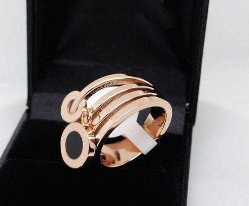 SeBiSe 2017 fashion stainless steel double shell row rings rose gold
