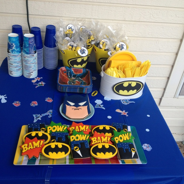 My sons 3 rd Batman birthday party Bash with cookies from http://sarabellesbakery.com!  They are amazing! What a fun party!