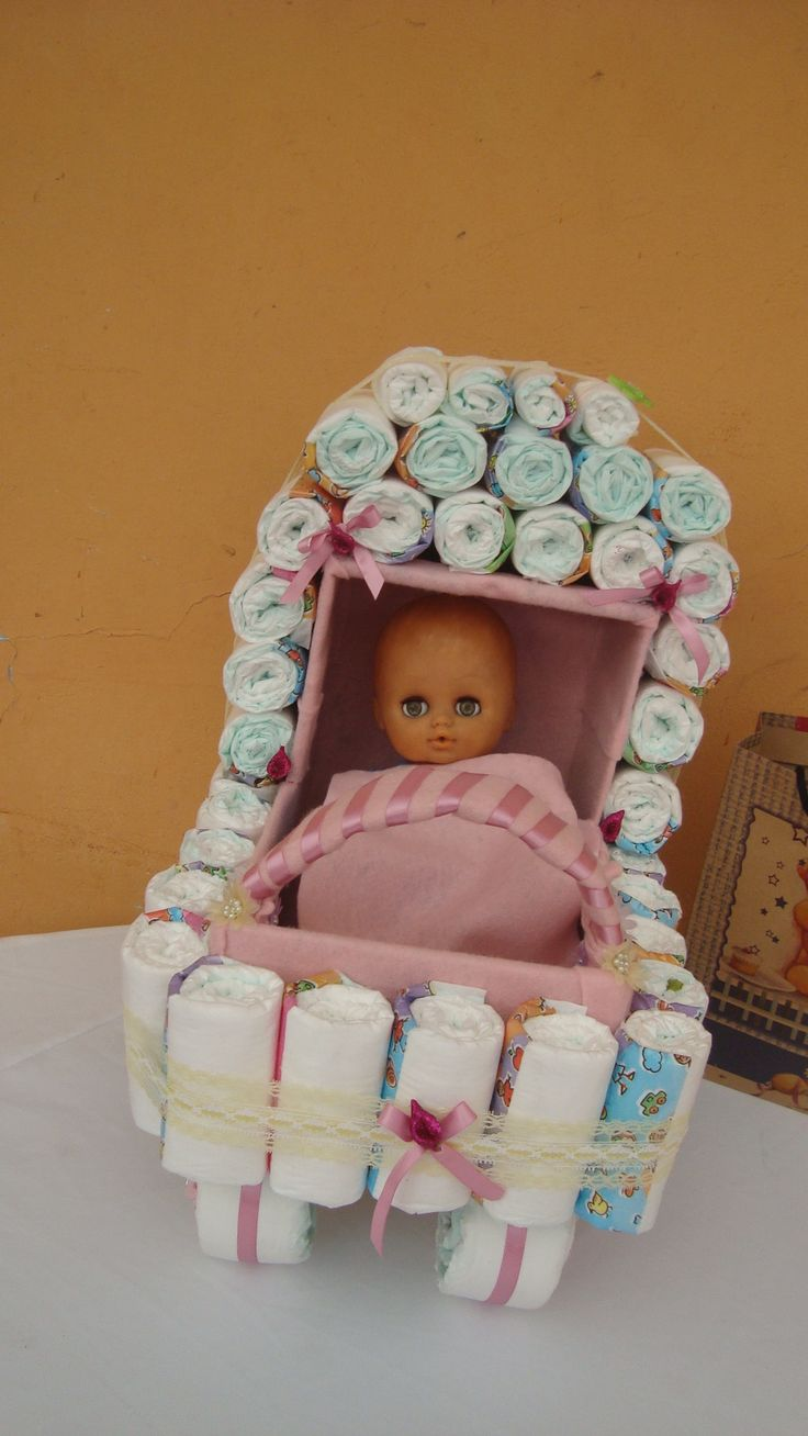 coche de pañales para baby shower... colores a eleccion.