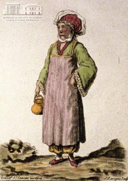 JACQUES GRASSET DE ST.SAUVEUR (1757-1810) (painter) & J. LAROQUE (engraver] Woman of Patmos island in local attire  1784, coloured etching, 21 x 14.5 cm