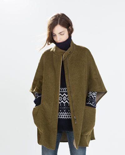 DOUBLE - SIDED CAPE - Outerwear - WOMAN | ZARA Germany #cape #coat #jacket #covet.me