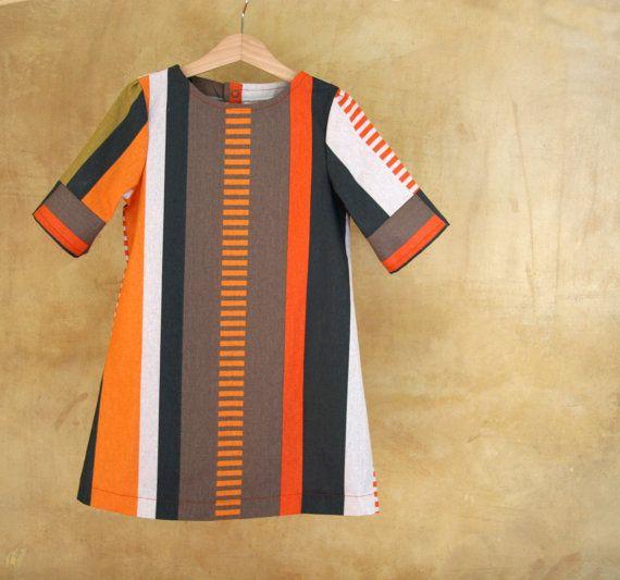 Girl cotton dress. Striped colorful dress on orange by PABUITA