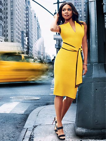 A contrast-trim self-tie belt commands attention on our sleek, sophisticated sheath dress - a chic choice for the office and beyond. Shop Gabrielle Union for New York and Company.