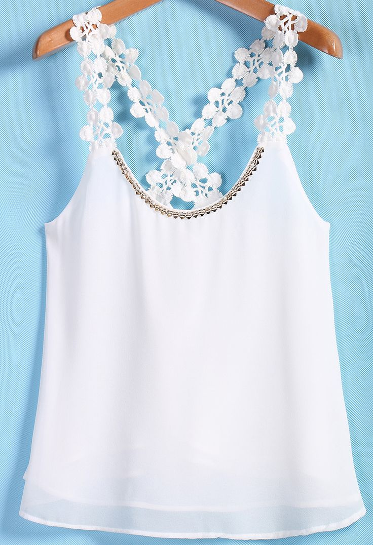 Shop White Lace Spaghetti Strap Chiffon Vest online. Sheinside offers White Lace Spaghetti Strap Chiffon Vest & more to fit your fashionable needs. Free Shipping Worldwide!