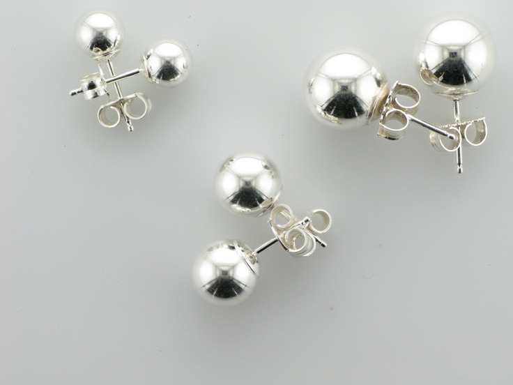 Sterling Silver Hollow Ball Stud Earrings (match the bracelets). Available in 6, 8, or 10mm, and the price starts at $10 per pair. Style 106