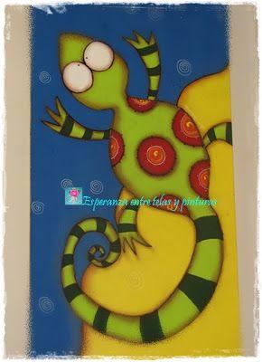 Iguana pintada en acrílicos sobre madera