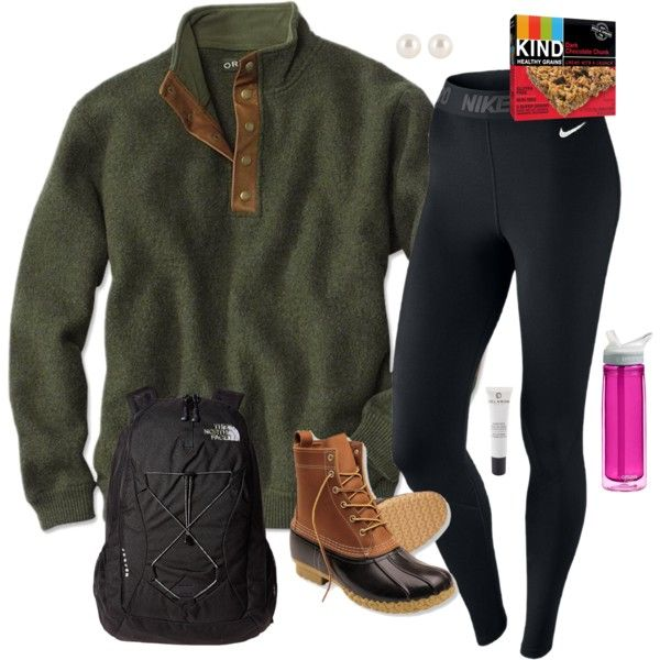 A fashion look from October 2015 featuring NIKE activewear pants, The North Face backpacks and Henri Bendel earrings. Browse and shop related looks.