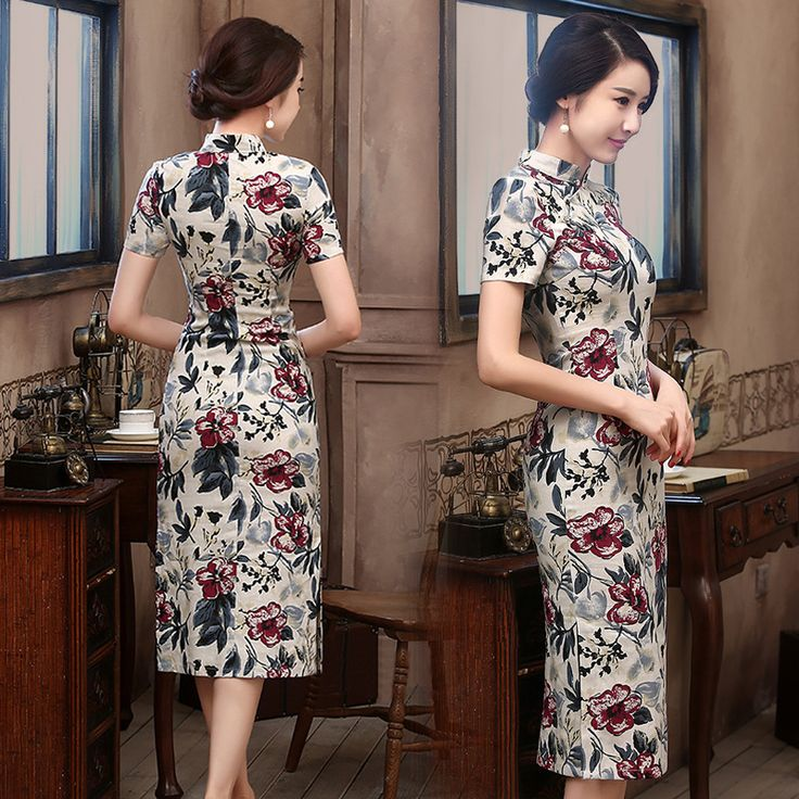 Brick red floral print natural linen casual qipao traditional Chinese mandarin collar dress AnQi-15070D 010