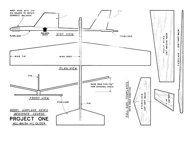 Balsa Wood Glider Plane Plans