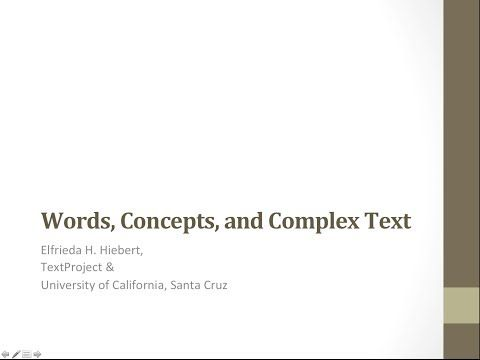 Presented on May 10, 2013 for the Massachusetts teachers and DOE representatives. Presentation slides will be made available at a later date.  Words represent concepts, concepts are the basis of knowledge, and knowledge is presented in complex texts.   To fully participate with complex texts requires a vibrant and generative vocabulary.  Freddy will discuss how such vocabulary can be developed in classrooms  with narrative and informational texts and across the grades.