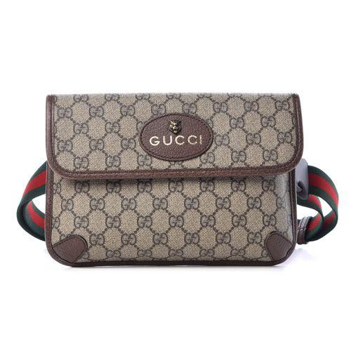 a5d67860e GUCCI GG Supreme Monogram Neo Vintage Web Belt Bag Brown - BestFashionHQ.com