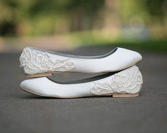 Wedding Shoes - Ivory Wedding Shoes/Wedding Ballet Flats with Ivory Lace. US Size 8