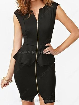 Black Sleeveless Zip Up Peplum Bodycon Dress