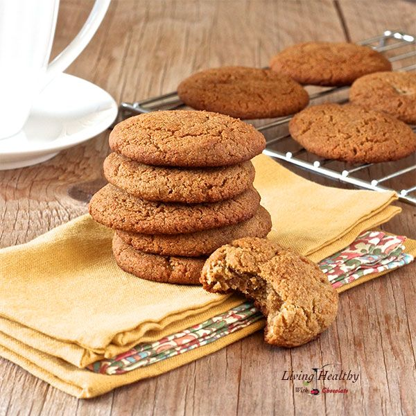 These Paleo Soft and Chewy Ginger Cookies are soft, thick, chewy, and full of fall flavors. They are healthy and delicious, free of gluten, grains and refined sugars.