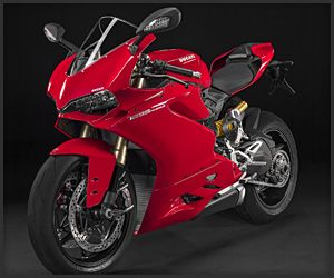 The 1299 Panigale has a new 205hp 1,285 cc twin-cylinder engine. An inertial sensor system coordinates the sport bike's ABS and suspension. The 1299 Panigale R uses carbon fiber and titanium parts to further cut down on weight.
