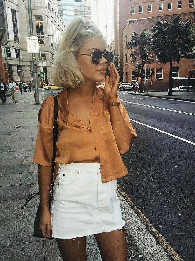 fashion blogger white skirt, orange crop top, ootd, street style, outfit ideas, outfit inspo, fashion blogger, summer style