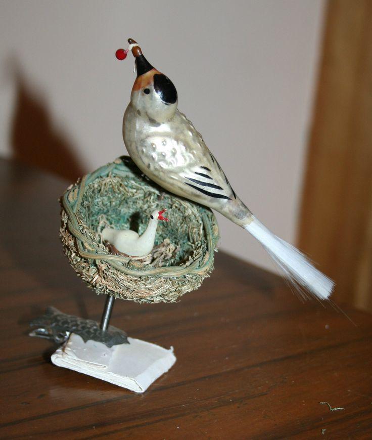 1900s Glass Bird in Moss Nest on Clip Mother Bird on Spring German Ornament | eBay