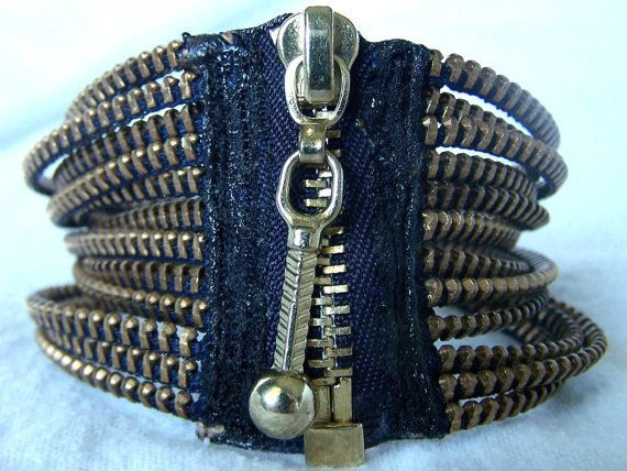 Zipper Bracelet by KariMcMurphy on Etsy. Love the idea of using zipper for bracelet closure! Gotta make me one :)