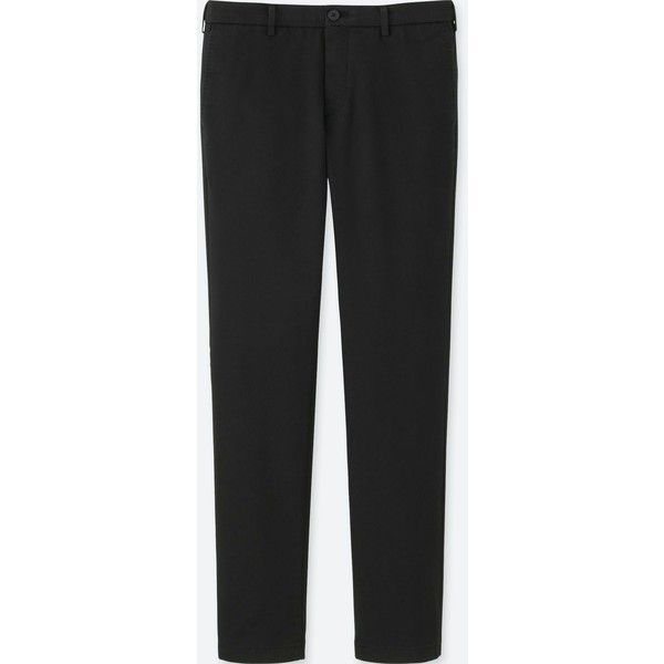 UNIQLO Men's Slim Fit Chinos ($30) ❤ liked on Polyvore featuring men's fashion, men's clothing, men's pants, men's casual pants, black, mens chinos pants, mens sheer pants, mens woven pants, men's relaxed fit pants and mens slim pants