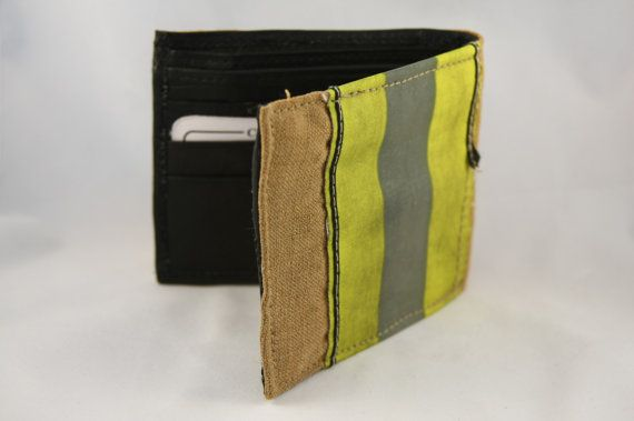 FIREFIGHTER Turnout Bunker Gear Wallet Made From Used Fire Gear With Real Leather.