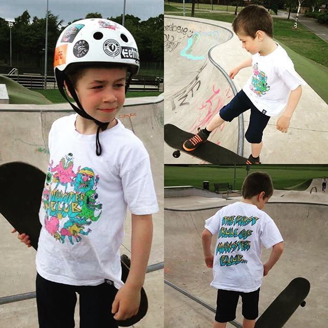 """Now this little dude is a cool as kid! Shout out to little-man Edinburgh skater, Sol, reppin our CRMC x @russelltaysom """"Monster Club"""" Kids Tee  This kid's got some mad skills in the bowl, we'll get some videos of him up real soon. One thing's for sure, this 7 year old's already got more cajones than me!  Kids tees available at www.crmcclothing.co #kidskater #skaterkids #skaterkid #skateboardingkids #skateboards #skater #skateboarding #sidewalksurfing #sidewalksurfer #littledude #kids #"""