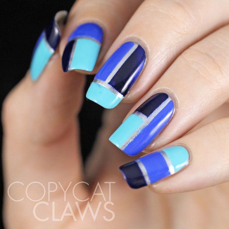 Copycat Claws: Blue Color Block Nail Art