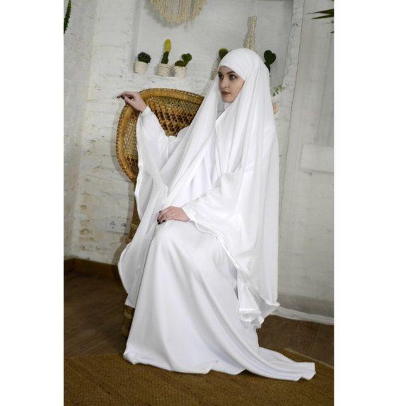 White wedding Khimar, Modern Burqa, Bridal Burka, Muslim Cape, hajj clothing, long white hijab, Muslim kimono, Oversize Khimar