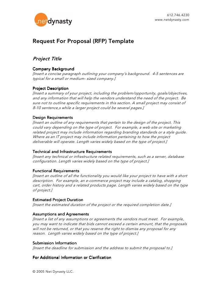 612 746 4230 Www Netdynasty Comrequest For Pr Rfp Proposal