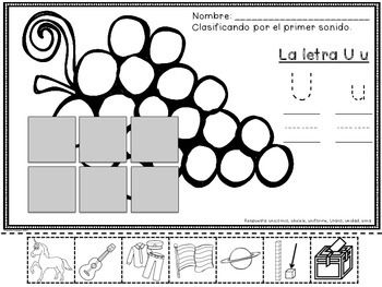 Fichas de vocales - Reconocimiento de las Vocales - La Letra Uu - (Set Four of Five) - Spanish Resource.  A set of 26 pages that focus on Uu as the beginning sound. Compare and contrast vowel sounds from past weeks.