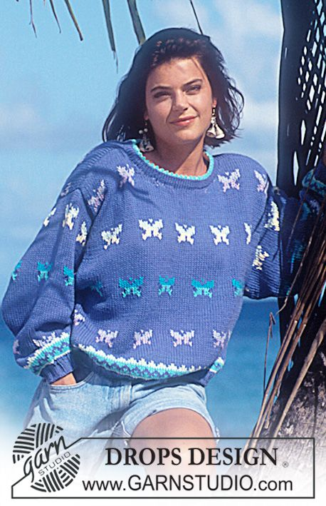 """DROPS 29-3 - DROPS jumper with butterfly pattern in """"Paris"""". - Free pattern by DROPS Design"""