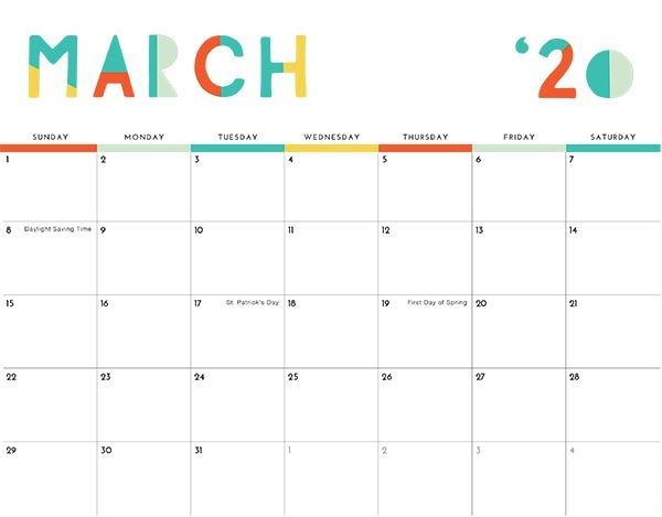 March 2020 Calendar Printable Template In Pdf Word Excel Free