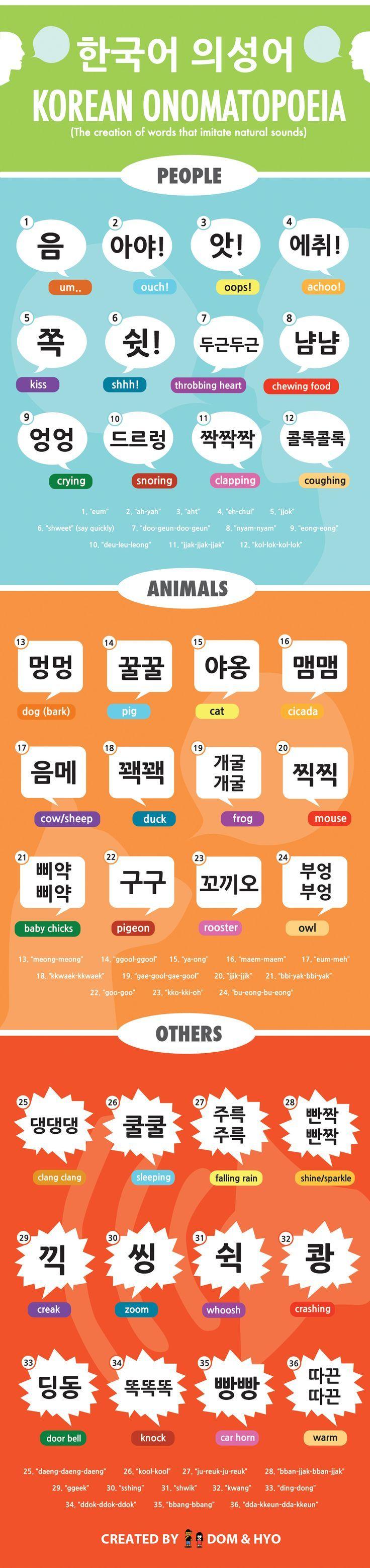 Learn Korean onomatopoeias with this fun infographic!