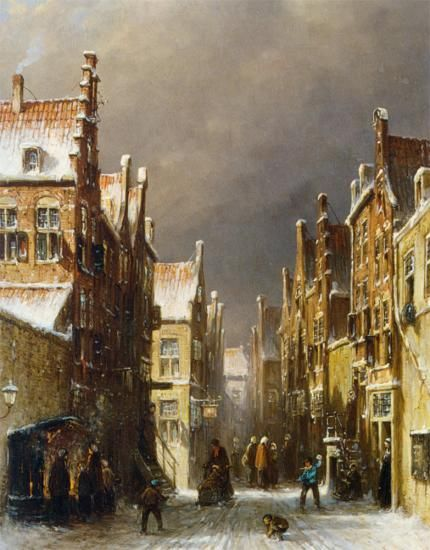 Pieter Gerard Vertin (1819-1893) Figures in the Snow Covered Streets of a Dutch Town