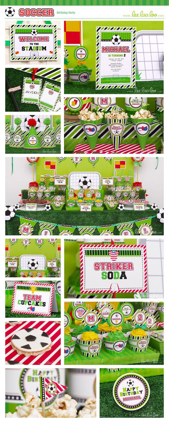 Soccer Birthday Party Package Collection Set Mega by LeeLaaLoo