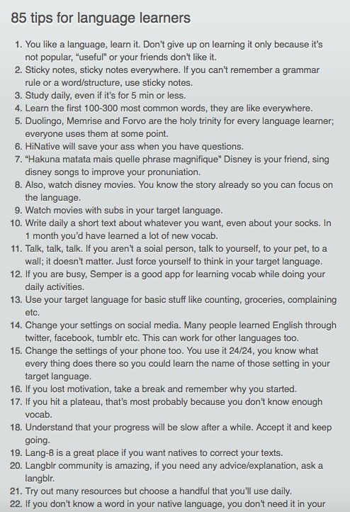 85 tips for language learners