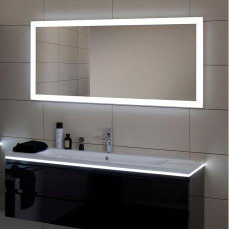 Sdb bas: Miroir REFLET LUZ 140cm éclairage et interrupteur infrarouge antibuée réf 904013 SANIJURA