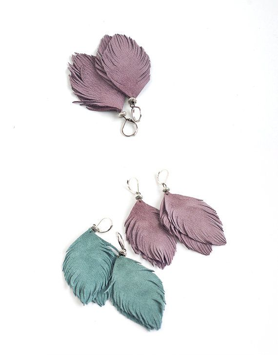 Set of two pairs feather earrings from smoky blue and smoky